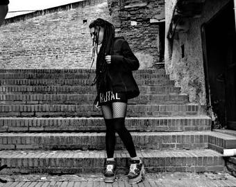 BRUTAL Black Punk Mini Skirt, Punk clothing, Typographic clothing, Black mini skirt