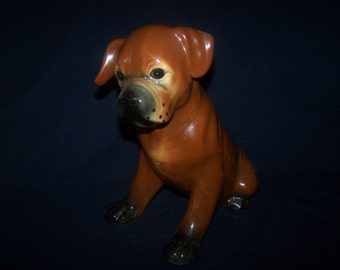 Large French Pottery Dog. Baby Boxer.