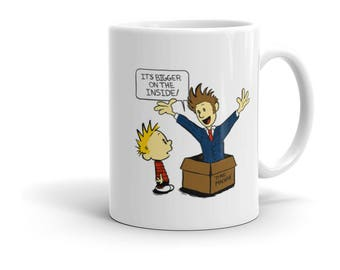 Doctor Who Calvin and Hobbes Tenth Doctor Time Machine Crossover Fan Art Drinking Mug