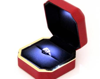 Large Red Leatherette Lighted Ring Gift Box  SALE