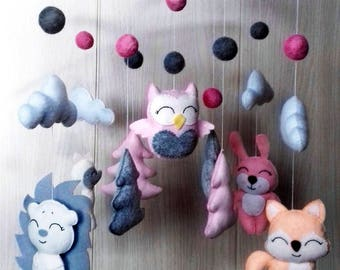 Forest animal baby crib Forest friend Baby mobile Felt mobile Crib mobile Childrens mobile Multicoloured mobile Baby mobile hanging Zoo toy