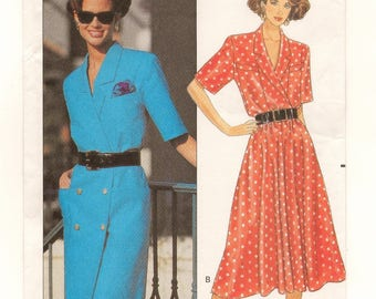 """A Shawl Collar, Full Skirt or Double-Breasted Straight Dress Sewing Pattern for Women: Uncut - Sizes 14-16-18, Bust 36""""-40"""" • Butterick 3909"""