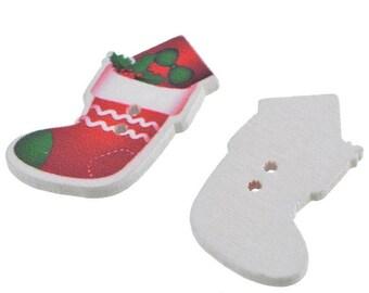 Set of 2 Christmas Scrapbooking 3.5x2cm socks wood buttons