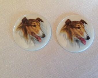 Set of 2 old cabocchons Limoges porcelain, diameter 43mm