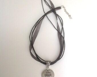 Live Laugh Love Pendant Necklace Black Organza Ribbon Choker Necklace