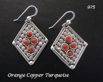 Silver Earrings: 925 Sterling Silver Earrings with Orange Copper Turquoise Gemstones | Drop Earrings, Silver Earrings, Dangle Earrings 067