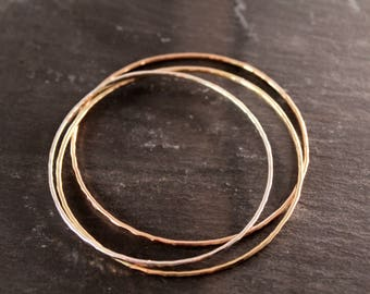 Closed Bangle Trio  (Rose Gold Sterling Silver Gold Hammered Bracelets Bridesmaid Jewelry Wedding Gift for her Under 50)