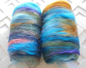 SAILING AWAY - Soft Art Batts, Luxury Art Batts, Blue Batts, Green Batts, Bronze Batts, Spinning Fiber, Spinning Fluff, Gift for Spinner