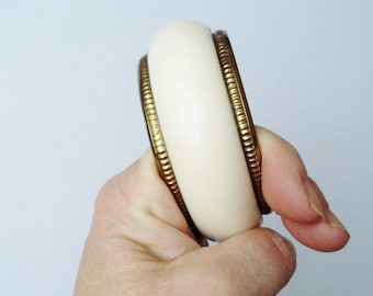 Cream Bangle Chunky Plastic Lucite Bracelet Gold Edge Retro Vintage Deep Wide Cuff Ecru Off White