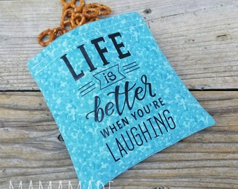 Life is Better - Medium Reusable Sandwich Bag from green by mamamade