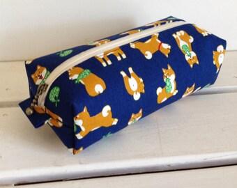 Long box pouch -Shiba-inu in navy