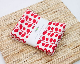 Large Cloth Napkins - Set of 4 - (N3531) - Red Sprig Leaves Modern Reusable Fabric Napkins