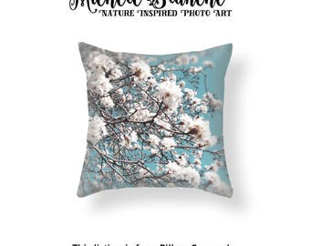 White Apple Blossoms Photo Pillow, Flower Blossom Photo Pillow case,  Spring Blooms Turquoise Sky Throw Pillow Cover, Branches and Blooms