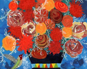 Orange Flowers Print, Mixed Media Flowers, Flowers in a Vase, Roses, zinnias, Torn Paper flowers, Hummingbird with flowers, Bouquet