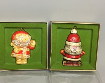 FREE SHIPPING - Set of 2 Hallmark 1976 Santa Tree Trimmer Collection in Original box Ornament - Rare