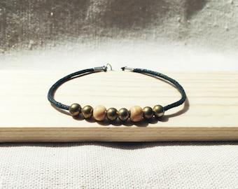 metal and wood bead charm bracelet, street style jewelry, stackable jewelry, everyday jewelry, summer summer bracelet, summer jewelry