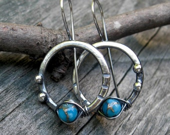 Turquoise Hoop Dangle Earrings... turquoise sterling silver hoop dangle earrings oxidized bright blue