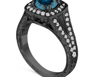 1.56 Carat Blue Diamond Engagement Ring, Wedding Ring 14K Black Gold Vintage Antique Style Unique Hand Engraved Certified Halo Pave handmade