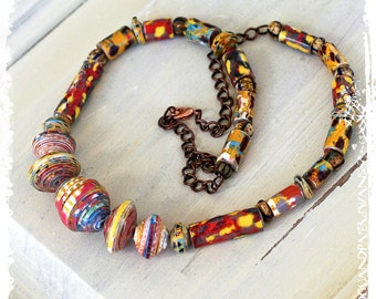 Paper Jewelry Bohemian Short Tribal Necklace Colorful Ethnic First Anniversary Gift for Wife Artisan OOAK Statement