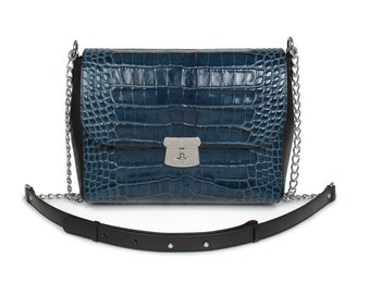 Leather Cross body Bag, Dark blue Leather Shoulder Bag, Women's Leather Crossbody Bag, Leather bag KF-587