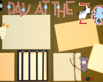 A Day at the Zoo 12x12 Premade Scrapbook Layout