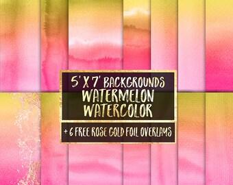 Watermelon Watercolor Digital Paper: premade watercolor invitation backgrounds, invitation template, ombre watercolor, planner, rose gold