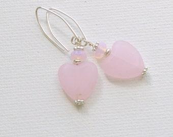 Pale Pink Heart Earrings. Quartz, Opalite & Sterling Silver.