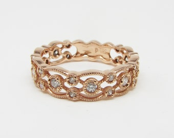 14K Rose Gold Miligrained Stackable Diamond Ring