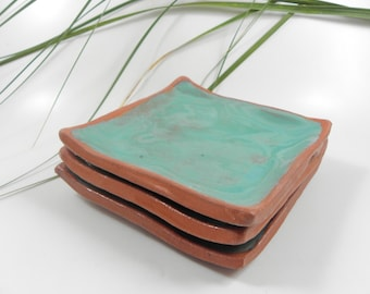 Set, Cake Plate, plain Turquoise,  Unique Handmade, Ceramic, Contemp. design, EyeCatching, Pottery, Made in Israel, Exceptional, Artisanal