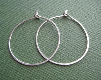 Hoop Earrings - One Inch Hoop Earrings - 14k Gold Fill Earrings - Sterling Silver Earrings