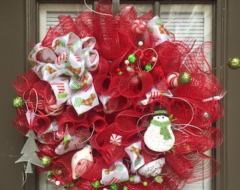 Funky Red and green Christmas Wreath on sale now was 64