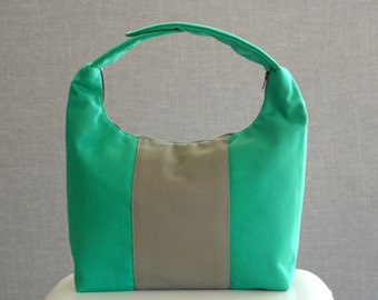 Large Work Lunch Bag, Women Lunch Bag, Insulated Lunch Tote,Reusable Lunch Bag, Emerald Green Taupe Color Block