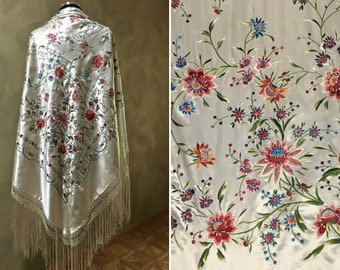 Delicate Off-White Silk Shawl, Hand Embroidered with Dainty Flowers, French Knots, Red, Bue, Green