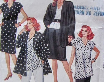 Misses Sizes 22 and a half and 24 and a half, Long Sleeve Flared Jacket, Top or Tunic, Pull on Pants or Skirt, Sewing Pattern , McCalls 3784