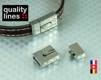 STEEL 10 mm flat leather clip clasp, glue the notch in the clip upwards otherwise clasp cannot be clipped, 10mm / 2.50 mm