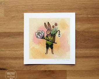 Rabbit Flower Guardian - Mini Fine Art Print