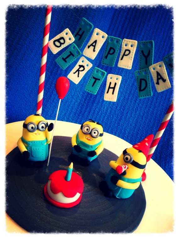 3X Minions Birthday Cake Topper set with Bunting Fondant Mini