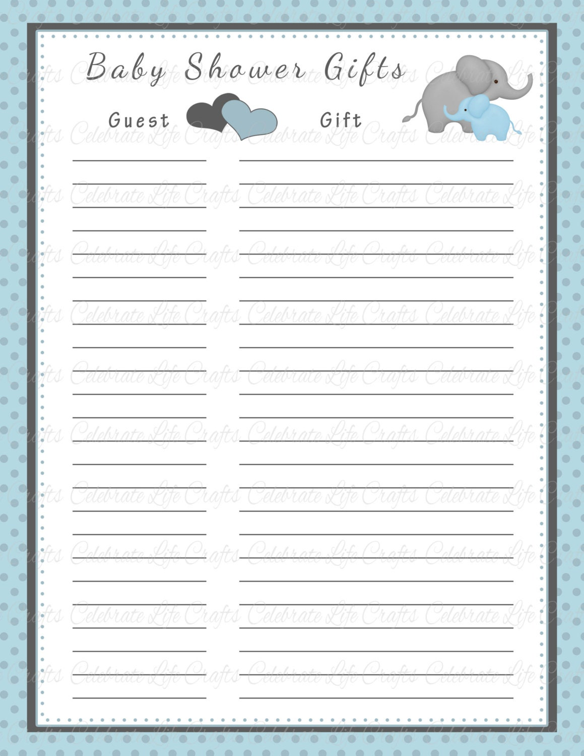 Free Printable Baby Shower Guest List Baby Shower Gift List Printable Baby Shower Party