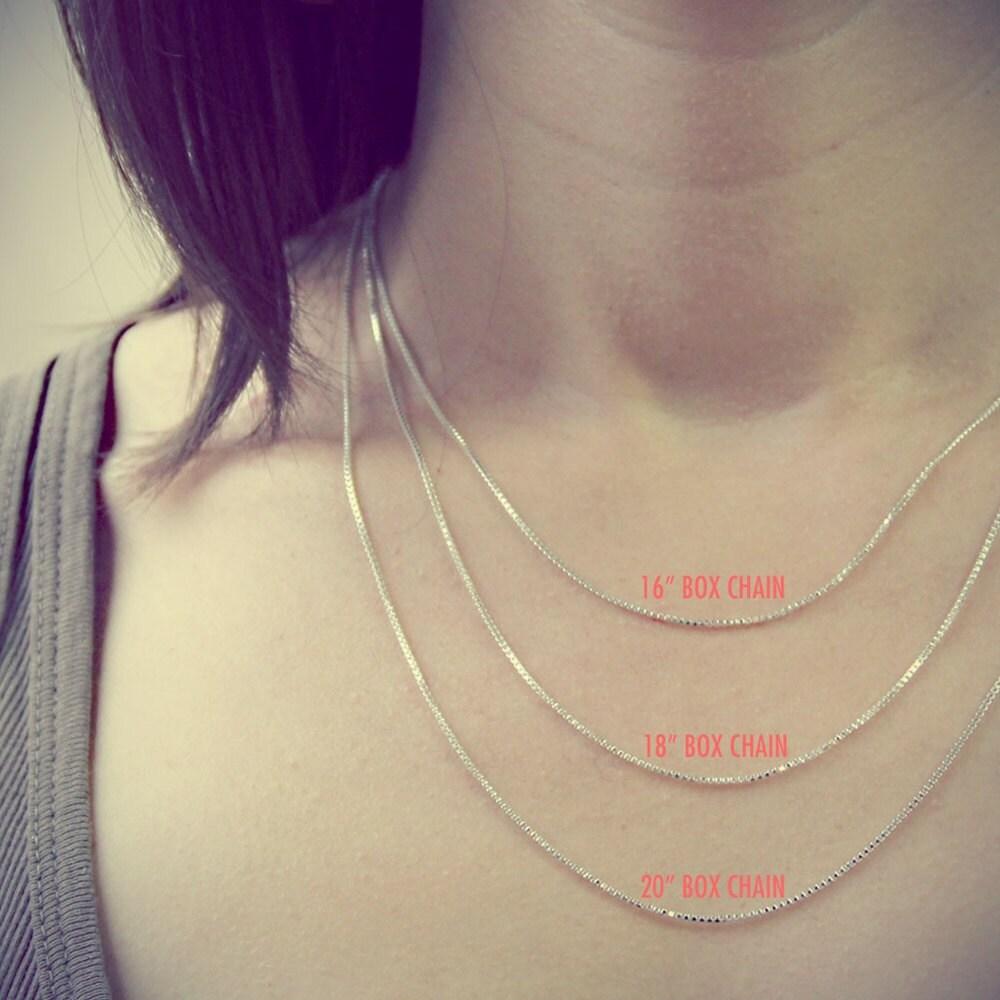 Charm Necklace Chain Sterling Silver Box Chain Box Chain 16