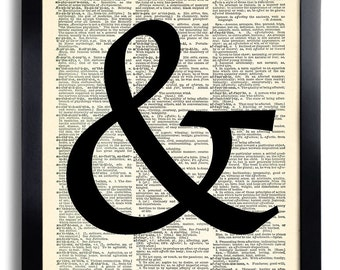Classic Ampersand Typography Art Print Vintage Book Print Recycled Vintage Dictionary Page Collage Repurposed Book Upcycled Dictionary 004