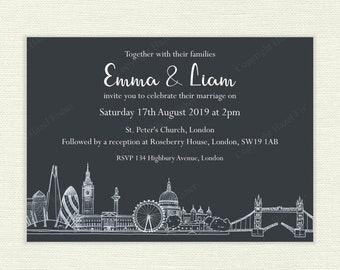 London Skyline printable Wedding Invitation - hand drawn city skyline, white on a dark grey background, customised invitation - IN040b