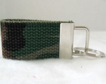 Camouflage Key Ring - Mini Key Fob - Camo Small Key Chain - Camo Zipper Pull