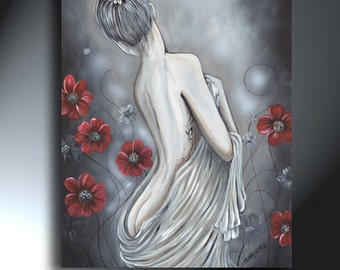 Nude Woman's Back Side Original Painting  24 x 30 Gray With Red Poppies