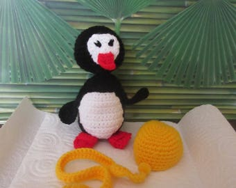 Made crochet Penguin or plush blanket