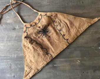 Vintage, Leather, Crop Halter Top! Perfect for Fesitval Season!