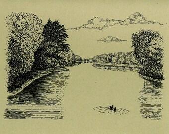 Indiana Note Cards - Indiana Wabash River Artwork – America Wabash River Note Sale.