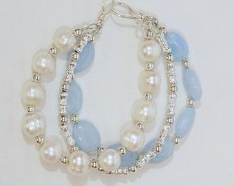 Beautiful in Blue Malaysian Jade and Freshwater Pearl Bracelet