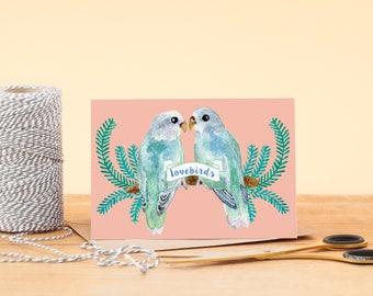 Love Birds Card   Illustrated Bird Greeting Card   Greeting Card   Love Birds   Love Card   Anniversary   Valentines Day   Birds