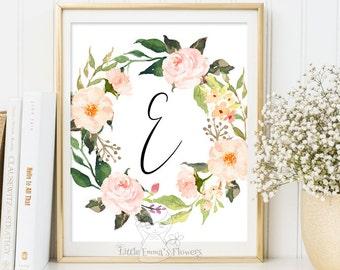 Nursery Letter Monogram Art printable flower nursery initials calligraphy monogram nursery print nursery monogram floral monogram Initial 72