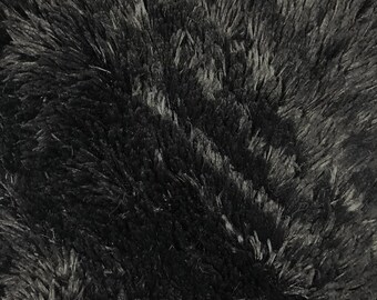 Black Pile with Tassel Faux Fur Fabric by the Yard Style - 5050